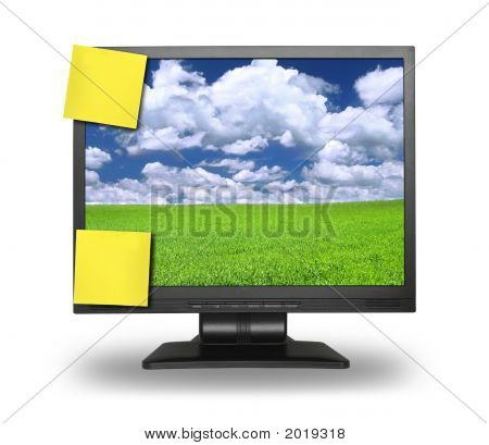 two yellow adhesive notes on lcd screen isolated on white gentle shadow behind photo inside is my property poster