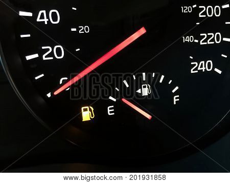 Close-up View Of An Empty Fuel Gauge