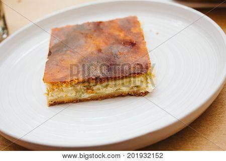 Piece Of Fresh Baked Homemade Rhubarb Apple Cake