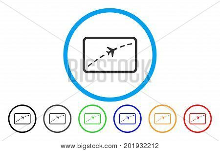 Plane Route vector rounded icon. Image style is a flat gray icon symbol inside a blue circle. Additional color variants are gray, black, blue, green, red, orange.