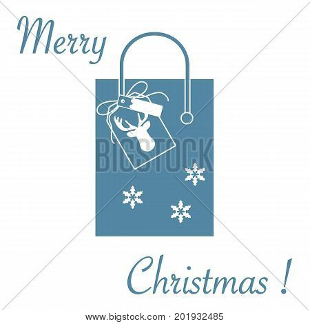 Cute Vector Illustration: Gift Bag With Snowflakes And Tag With A Deer. Christmas Sale And Shopping