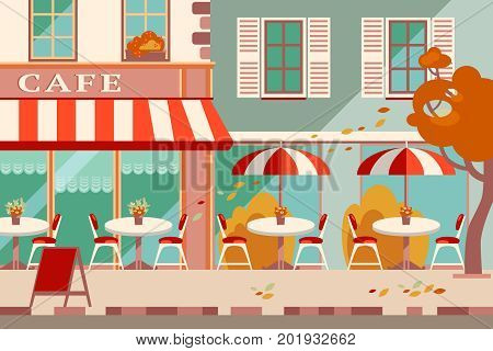 Modern flat vector horizontal illustration. Outdoor cafe in the european street, street facade. Romantic purple autumn. Bright colors
