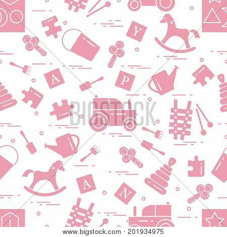Cute Seamless Pattern With Variety Of Children's Toys: Rocking Horse, Cubes, Rattle, Pyramid, Sorter