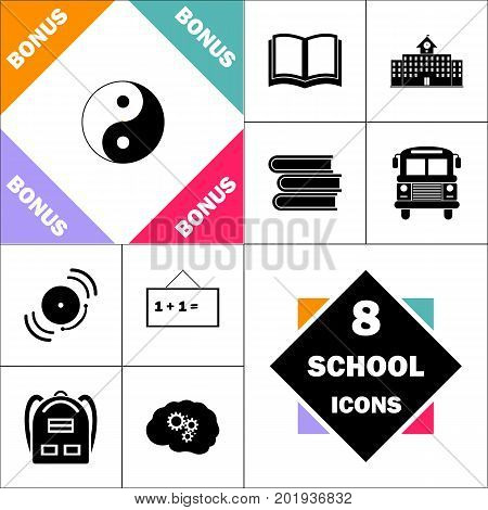 Ying yang Icon and Set Perfect Back to School pictogram. Contains such Icons as Schoolbook, School  Building, School Bus, Textbooks, Bell, Blackboard, Student Backpack, Brain Learn
