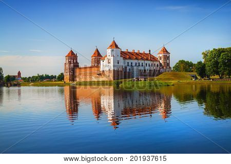 Mir Belarus - August 11 2016: Ancient medieval fortress on the shore of the lake. Castle in Mir Belarus - historical heritage of Belarus. UNESCO World Heritage. Traveling on Belarus
