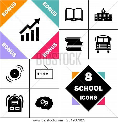 graphic Icon and Set Perfect Back to School pictogram. Contains such Icons as Schoolbook, School  Building, School Bus, Textbooks, Bell, Blackboard, Student Backpack, Brain Learn