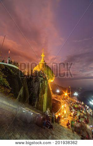 Kyaikhtiyo or Kyaiktiyo pagoda, Golden rock in Myanmar.