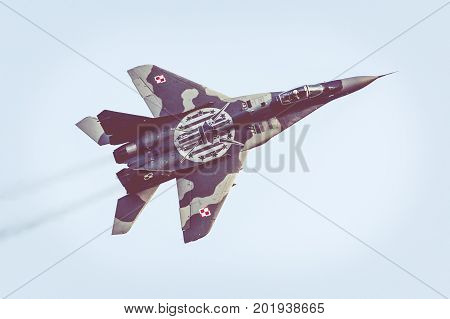 Radom, Poland - August 26: Polish Air Force, Mig 29 Fulcrum And Extra 330 During Air Show Radom 2017