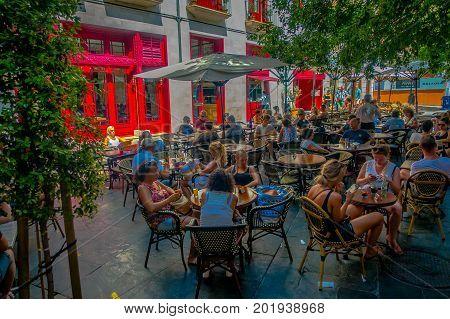 PALMA DE MALLORCA, SPAIN - AUGUST 18 2017: Unidentified people eating at famous Boulevard Born in Palma de Mallorca, Spain, Europe.