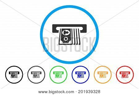 ATM Insert Cash vector rounded icon. Image style is a flat gray icon symbol inside a blue circle. Bonus color versions are grey, black, blue, green, red, orange.