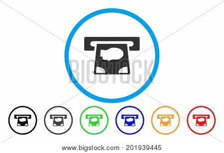 ATM Payment vector rounded icon. Image style is a flat gray icon symbol inside a blue circle. Additional color variants are grey, black, blue, green, red, orange.