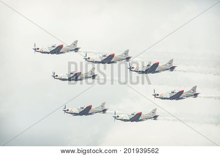 Radom, Poland - August 26: Orlik (poland) Aerobatic Display Team At Air Show Radom 2017 Event On Aug