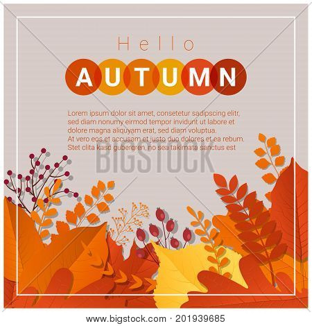 Hello autumn background with happy dog , vector , illustration