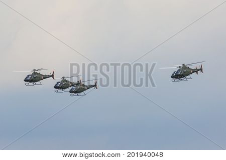Radom, Poland - August 26, 2017 : Pzl Swidnik Sw-4 Puszczyk Display During Air Show Radom 2017.