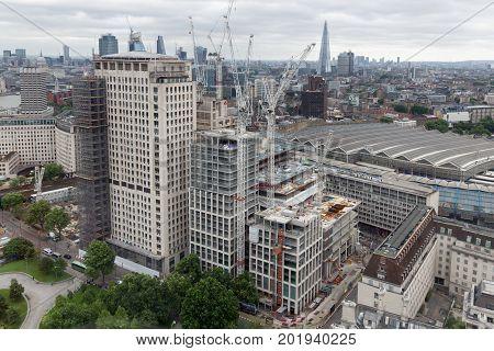 Construction site new skyscraper in London city
