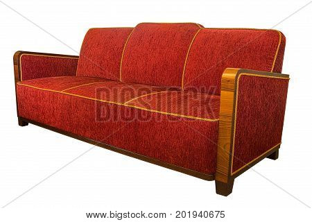 Art Deco style upholstered red armchair sofa with typical angular wooden armrests isolated on white