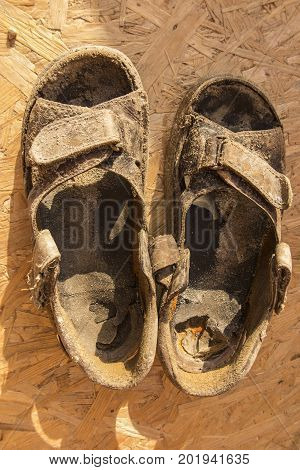 sandals old worn out being based on the OSB board