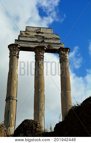 Old Roman ruins stand like a sentinel,standing tall with its Corinthian pillars.