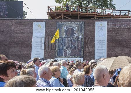 Czestochowa Poland 26 August 2017: Jubilee 300 of anniversary of the coronation of the image of the Mother of God of Czestochowska with papal crowns. Living Crown of Mary - Image on walls taken off sent photographs