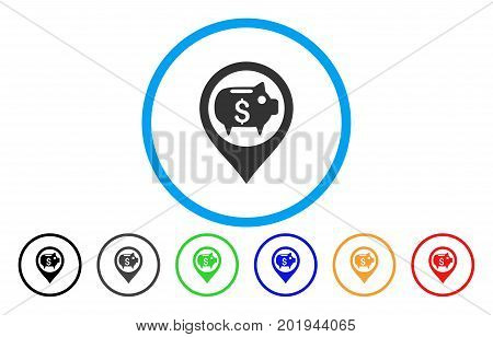 Bank Map Marker vector rounded icon. Image style is a flat gray icon symbol inside a blue circle. Additional color variants are gray, black, blue, green, red, orange.