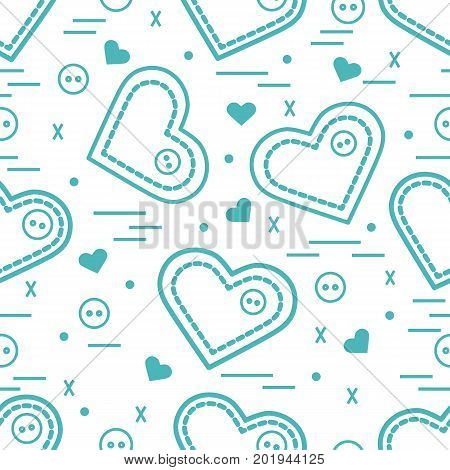 Cute Seamless Pattern With Needle Cases And Buttons. Greeting Card Valentine's Day.