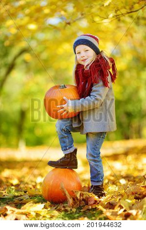 Adorable Little Girl Having Fun On A Pumpkin Patch On Beautiful Autumn Day