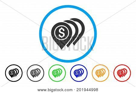 Dollar Markers vector rounded icon. Image style is a flat gray icon symbol inside a blue circle. Additional color versions are gray, black, blue, green, red, orange.