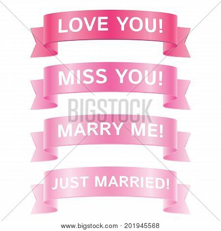 Set of romantic pink vector ribbons, isolated on white background. Glossy ribbons for yor romantic greeting card design decoration.