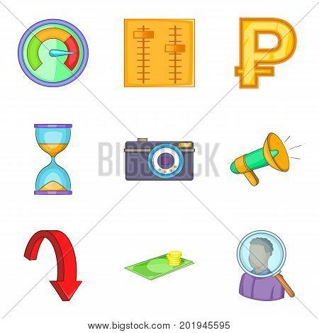 Money supply icons set. Cartoon set of 9 money supply vector icons for web isolated on white background