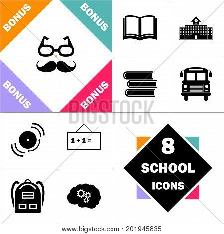 Mustache and Glasses Icon and Set Perfect Back to School pictogram. Contains such Icons as Schoolbook, School  Building, School Bus, Textbooks, Bell, Blackboard, Student Backpack, Brain Learn