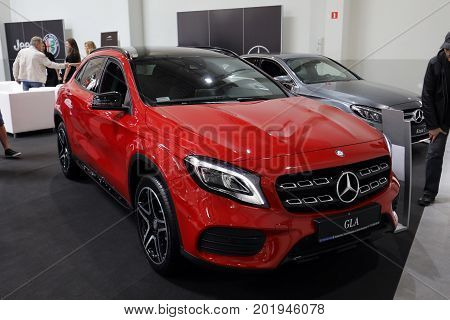 CRACOW POLAND - MAY 20 2017: Mercedes GLA displayed at 3rd edition of MOTO SHOW in Krakow. Poland. Exhibitors present most interesting aspects of the automotive industry