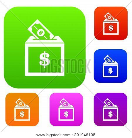 Donation box set icon in different colors isolated vector illustration. Premium collection