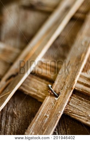 Old Wooden Structures With Rusty Nails.