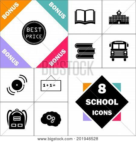 Best Price Icon and Set Perfect Back to School pictogram. Contains such Icons as Schoolbook, School  Building, School Bus, Textbooks, Bell, Blackboard, Student Backpack, Brain Learn
