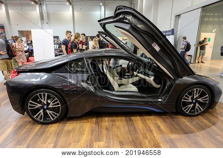 CRACOW POLAND - MAY 20 2017: New BMW i8 electric automobile displayed at 3rd edition of MOTO SHOW in Krakow. Poland.Exhibitors present most interesting aspects of the automotive industry