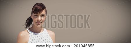 Digital composite of Portraiture of millennial woman against brown background