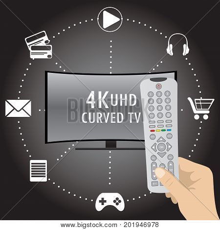 4K Tv With Icons Of Different Applications And Remote Control In