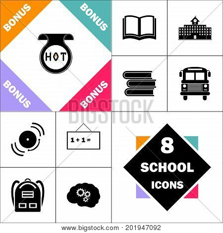 Hot Icon and Set Perfect Back to School pictogram. Contains such Icons as Schoolbook, School  Building, School Bus, Textbooks, Bell, Blackboard, Student Backpack, Brain Learn