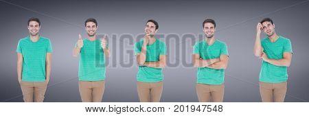 Digital composite of Man expressing feelings collage against purple backgorund