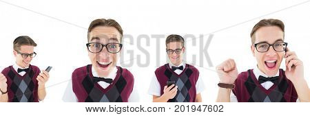 Digital composite of Excited nerd man collage