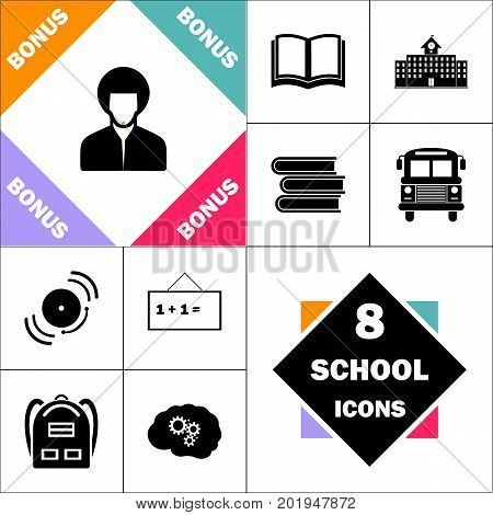 hippie man Icon and Set Perfect Back to School pictogram. Contains such Icons as Schoolbook, School  Building, School Bus, Textbooks, Bell, Blackboard, Student Backpack, Brain Learn