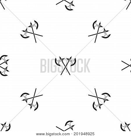 Crossed battle axes pattern repeat seamless in black color for any design. Vector geometric illustration