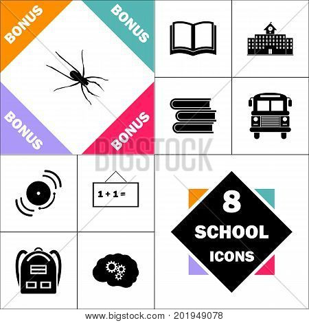 Spider Icon and Set Perfect Back to School pictogram. Contains such Icons as Schoolbook, School  Building, School Bus, Textbooks, Bell, Blackboard, Student Backpack, Brain Learn