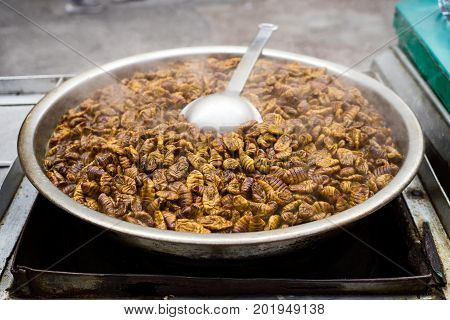 Beondegi Snack Food Sold In Seoul Market. Beondegi Are Steamed Or Boiled Silkworm Pupae Which Are Se