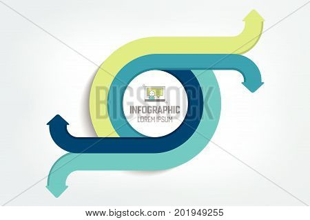 Circle round divided in 4 arrows. Template scheme diagram chart graph presentation. Business concept with 2 steps options processes.