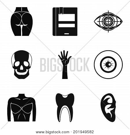 Dissection icons set. Simple set of 9 dissection vector icons for web isolated on white background