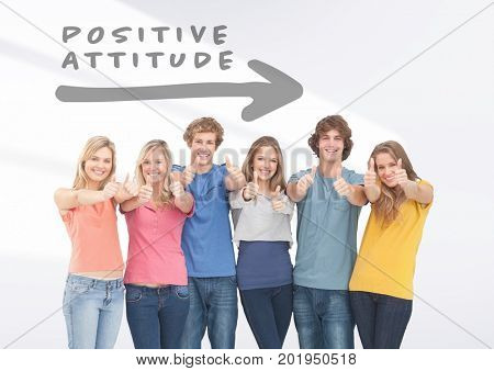 Digital composite of Group of friends standing in front of Positive attitude arrow