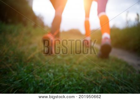 Blurred picture of running girls