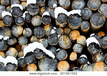 An abstract pile of logs during winter.