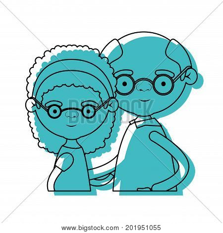 half body elderly couple with grandmother bow lace and curly hairstyle and grandfather with glasses in blue watercolor silhouette vector illustration